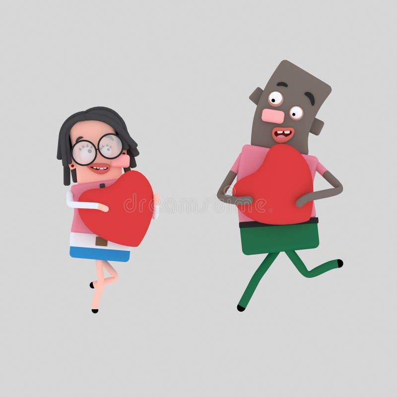 Pares en amor 3d libre illustration