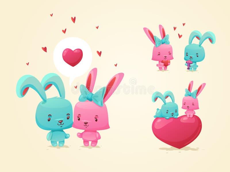 Pares en amor Sistema de imágenes divertidas felices stock de ilustración