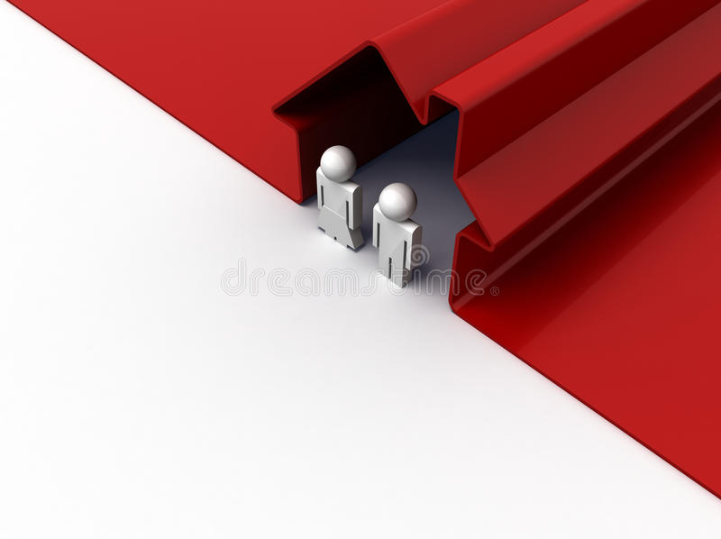 Pares en casa roja stock de ilustración
