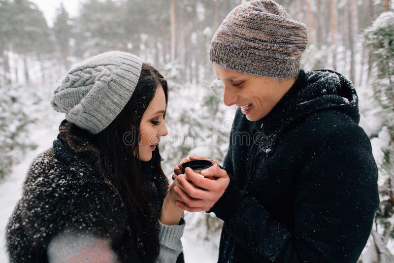 Pares en el amor que bebe té caliente en día de invierno frío nevoso imagen de archivo libre de regalías