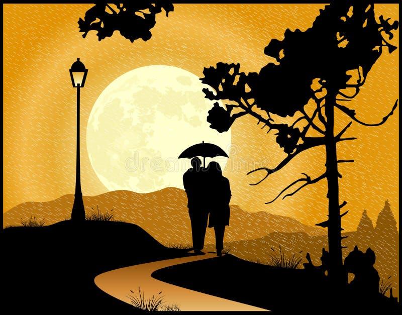 Pares en el amor que camina en la lluvia stock de ilustración