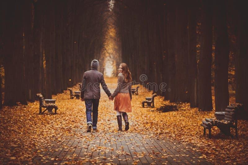 Pares en el amor que camina en un callejón hermoso del otoño en el parque fotos de archivo libres de regalías