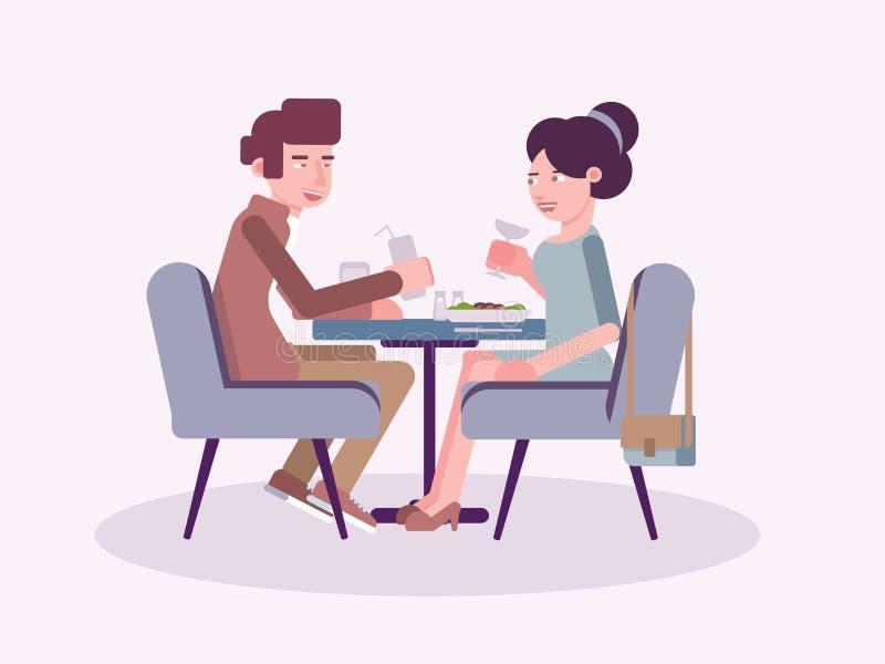 Pares en el ejemplo plano del vector del restaurante ilustración del vector
