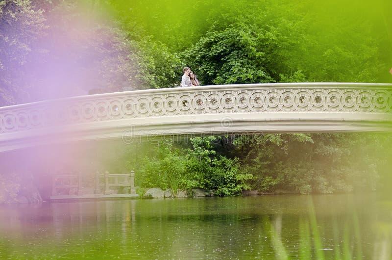 Pares en el puente del arco en Central Park foto de archivo libre de regalías