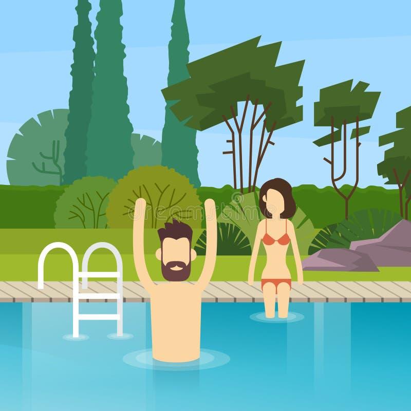 Pares en pasatiempo de la piscina libre illustration
