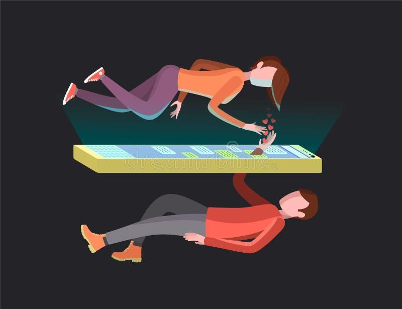 Pares en relaciones de larga distancia stock de ilustración
