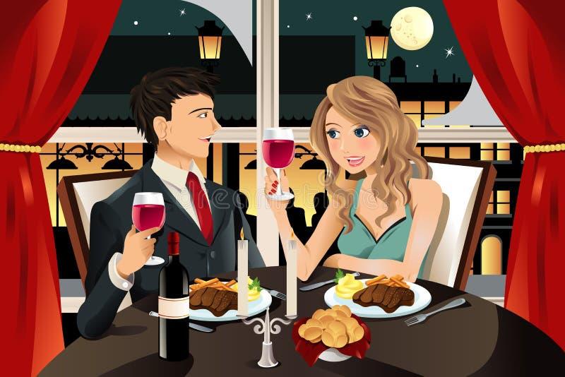 Pares en restaurante ilustración del vector