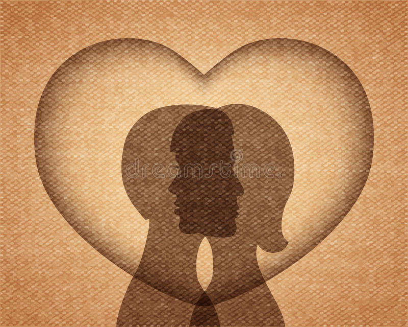 Pares en siluetas del amor ilustración del vector