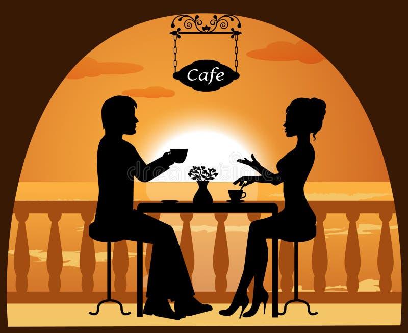 Pares en un café en la playa en la puesta del sol libre illustration