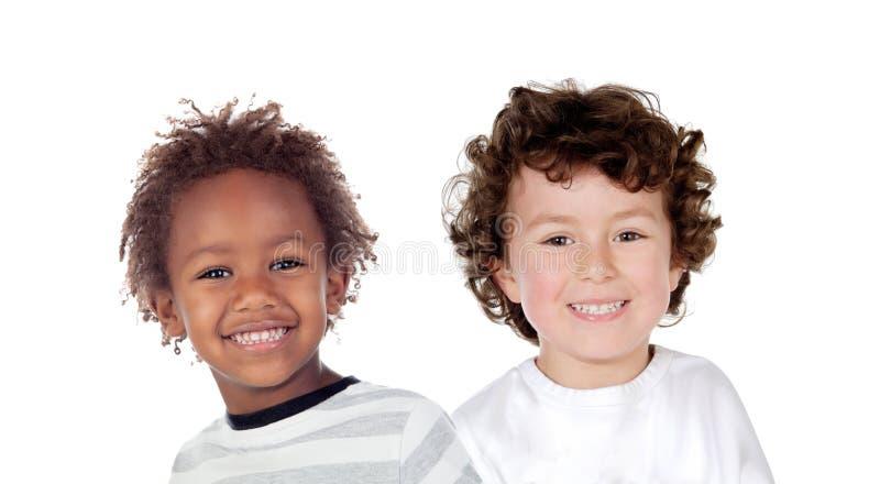 Pares engraçados de crianças fotografia de stock royalty free