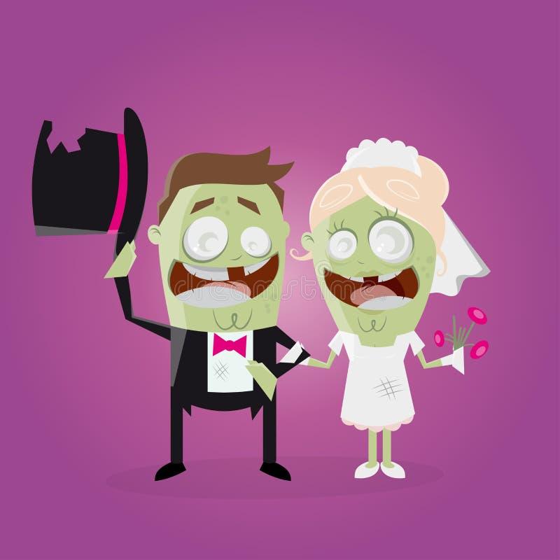 Pares engraçados do casamento do zombi ilustração royalty free