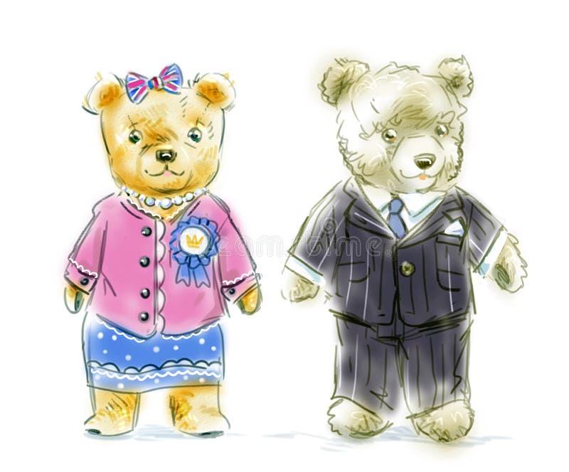 Pares engraçados do urso de peluche dos desenhos animados ilustração stock