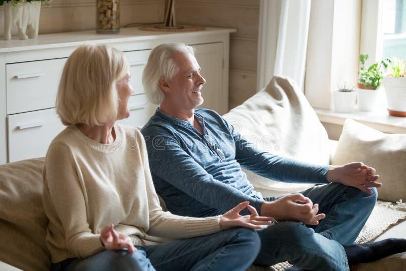 Pares envejecidos sonrientes reflexionar sobre el sofá en casa imagen de archivo libre de regalías