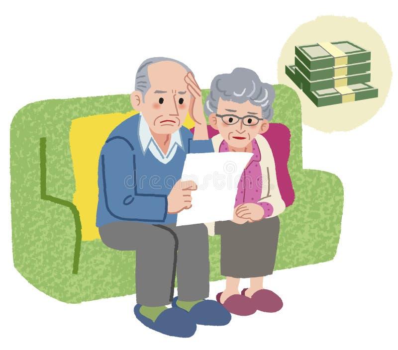Pares envelhecidos com problema financeiro ilustração stock