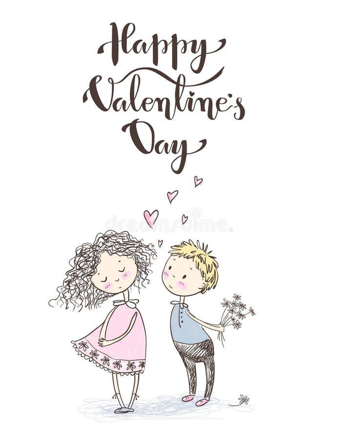Pares esboçado bonitos do younge do estilo do vetor Cartão do `s do Valentim feliz ilustração do vetor