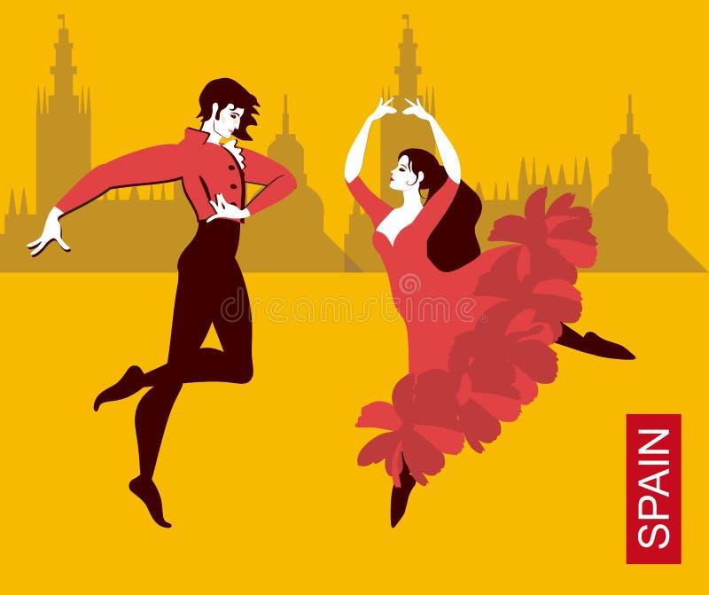 Pares españoles hermosos en los trajes nacionales que bailan flamenco en las calles de la ciudad Siluetas de edificios ilustración del vector