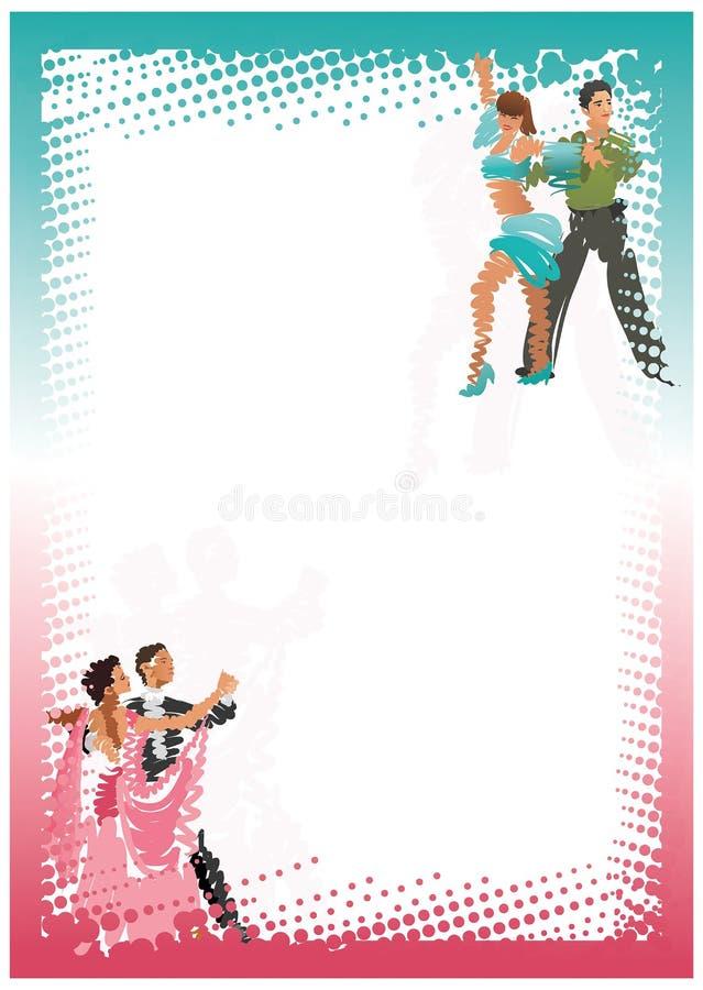 Pares estilizados da dança quadro vertical brilhante ilustração do vetor