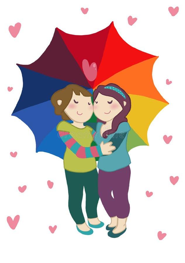 Pares fêmeas felizes sob o guarda-chuva do arco-íris ilustração stock