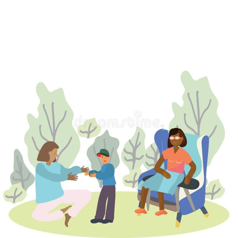 Pares fêmeas no parque com bebê pequeno ilustração do vetor