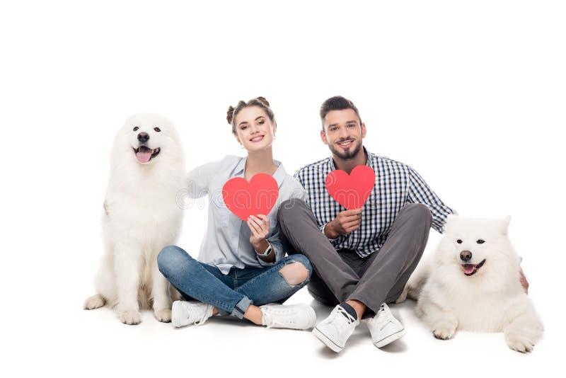 pares felices con los perros y los corazones de papel en blanco, tarjetas del día de San Valentín del samoyedo foto de archivo