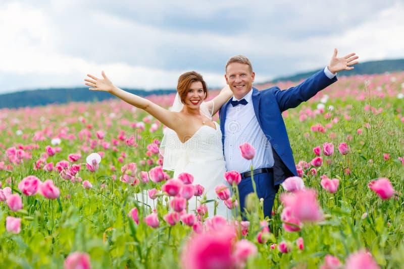 Pares felices de la boda en campo rosado de la amapola imagenes de archivo
