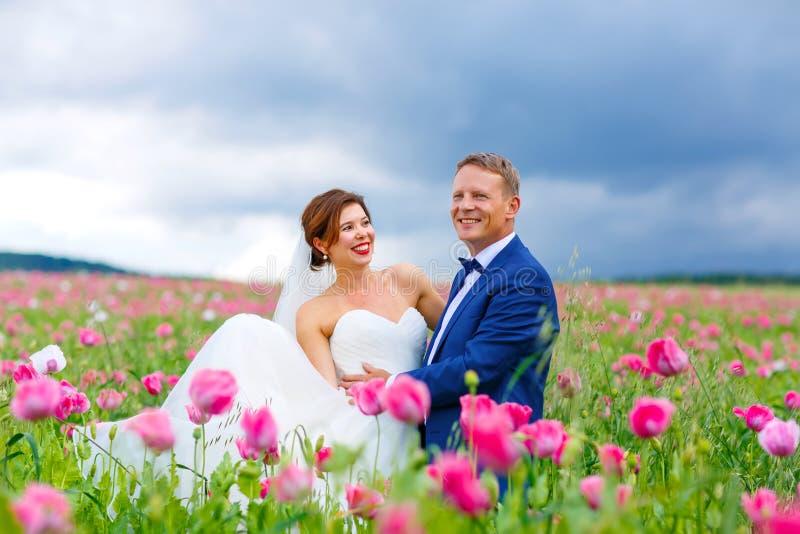 Pares felices de la boda en campo rosado de la amapola imagen de archivo