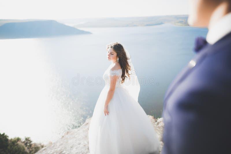 Pares felices de la boda que permanecen sobre paisaje hermoso fotografía de archivo