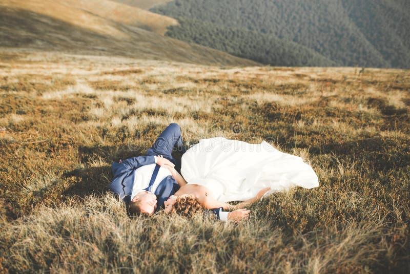 Pares felices de la boda que presentan sobre paisaje hermoso en las montañas fotografía de archivo libre de regalías
