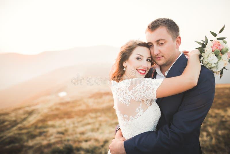 Pares felices de la boda que presentan sobre paisaje hermoso en las montañas imagenes de archivo