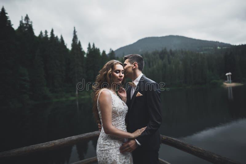 Pares felices de la boda que presentan sobre paisaje hermoso en las montañas imágenes de archivo libres de regalías