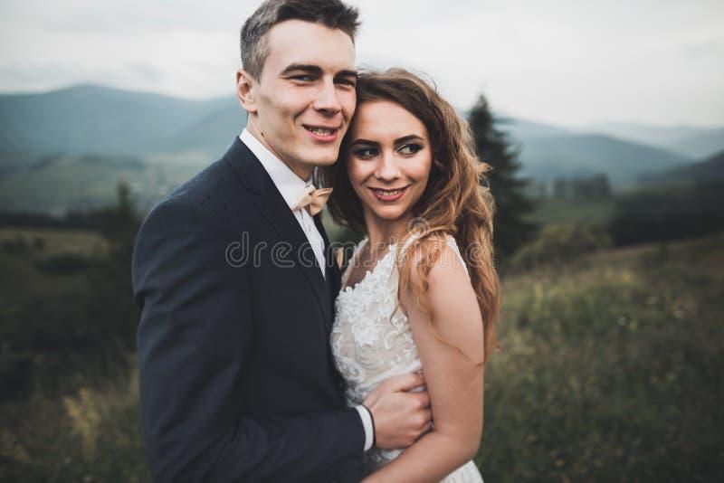 Pares felices de la boda que presentan sobre paisaje hermoso en las montañas fotos de archivo libres de regalías