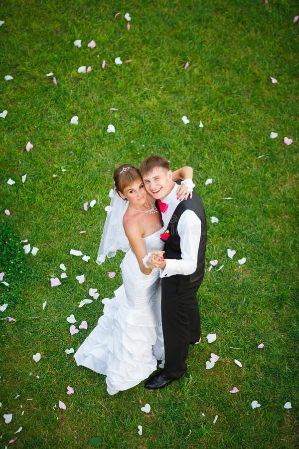 Pares felices de la boda que se colocan en hierba verde foto de archivo