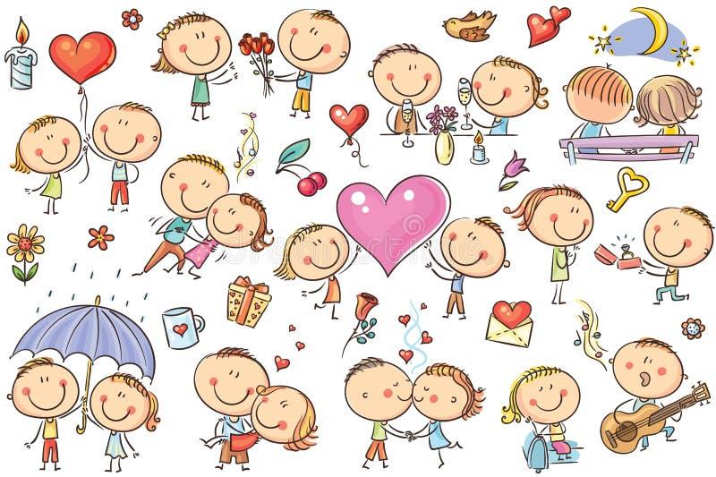 Pares felices de la historieta en el amor, sistema del día del ` s de la tarjeta del día de San Valentín stock de ilustración