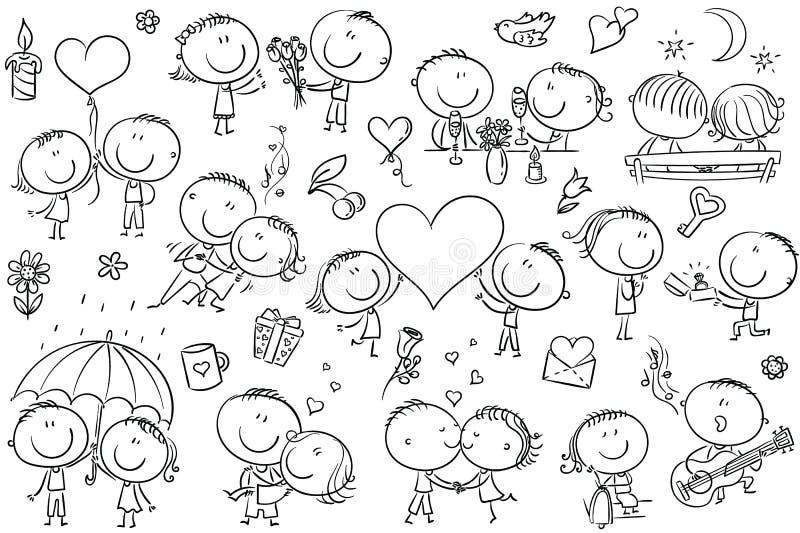 Pares felices de la historieta en el amor, sistema del día del ` s de la tarjeta del día de San Valentín libre illustration