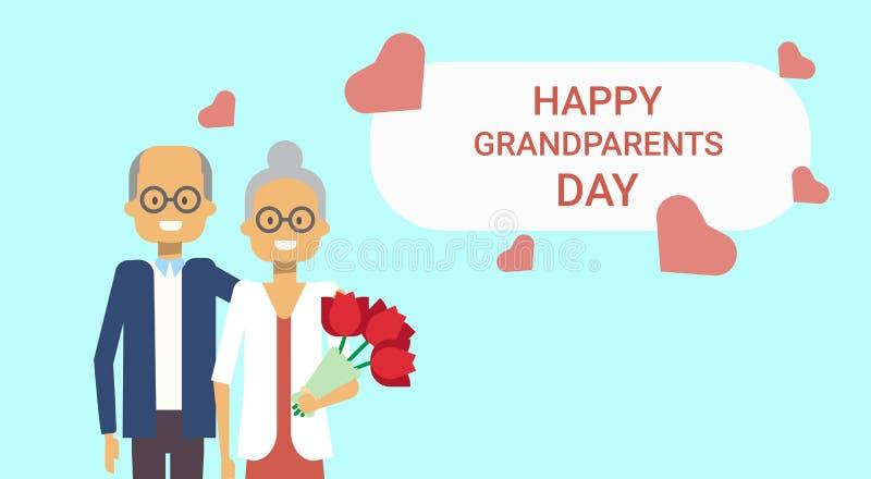 Pares felices del abuelo y de la abuela de la bandera del día de fiesta de la tarjeta de felicitación del día de los abuelos junt stock de ilustración