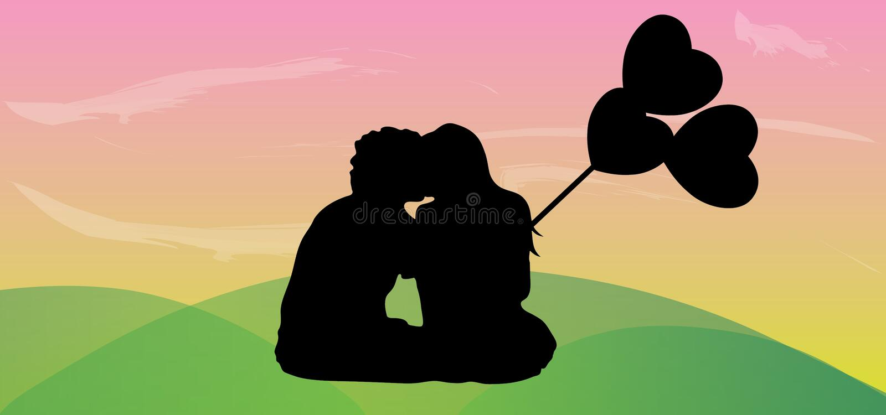 Pares felices en amor con el globo del corazón libre illustration