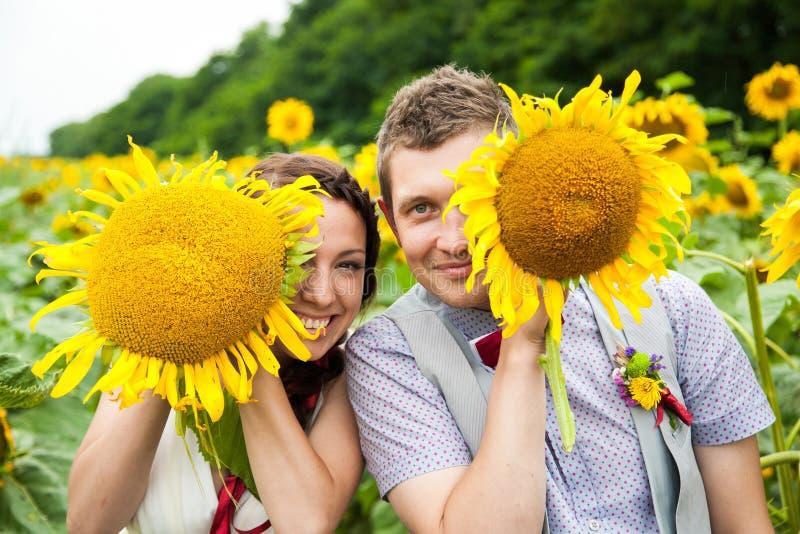 Pares felices en el amor que se divierte en campo por completo de girasoles imagenes de archivo