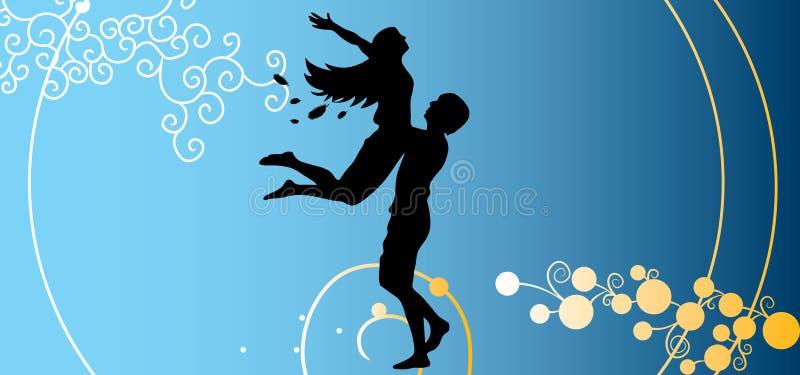 Pares felices en silueta del día/del vector de las tarjetas del día de San Valentín libre illustration