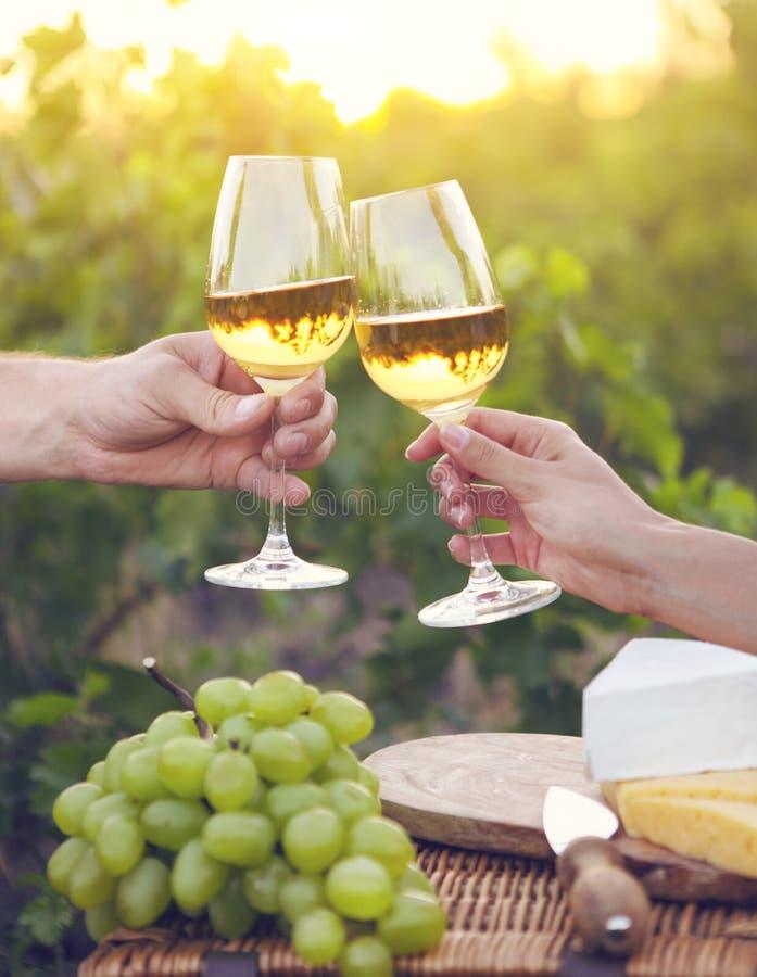 Pares felices jovenes que gozan de vidrios de vino blanco fotos de archivo libres de regalías