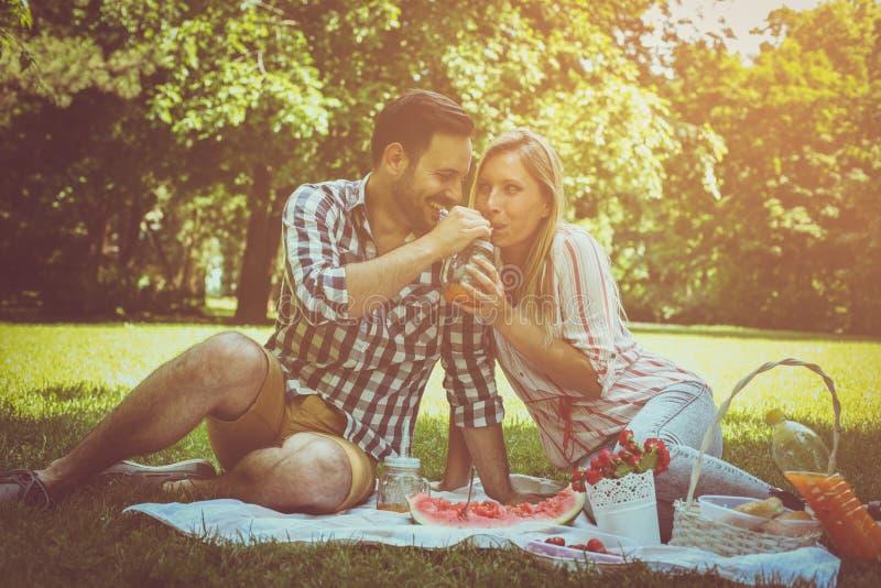 Pares felices jovenes que tienen comida campestre en el prado Pares que sientan o fotos de archivo