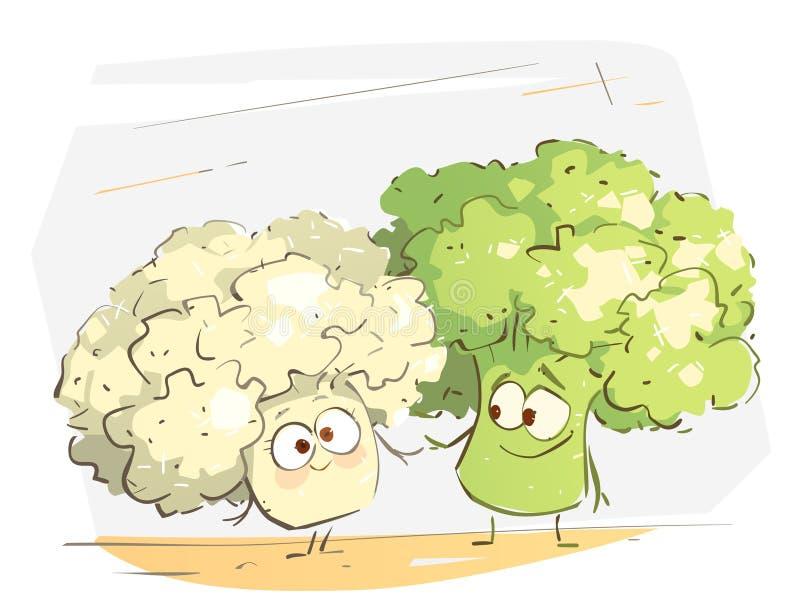 Pares felices lindos del bróculi en amor ilustración del vector