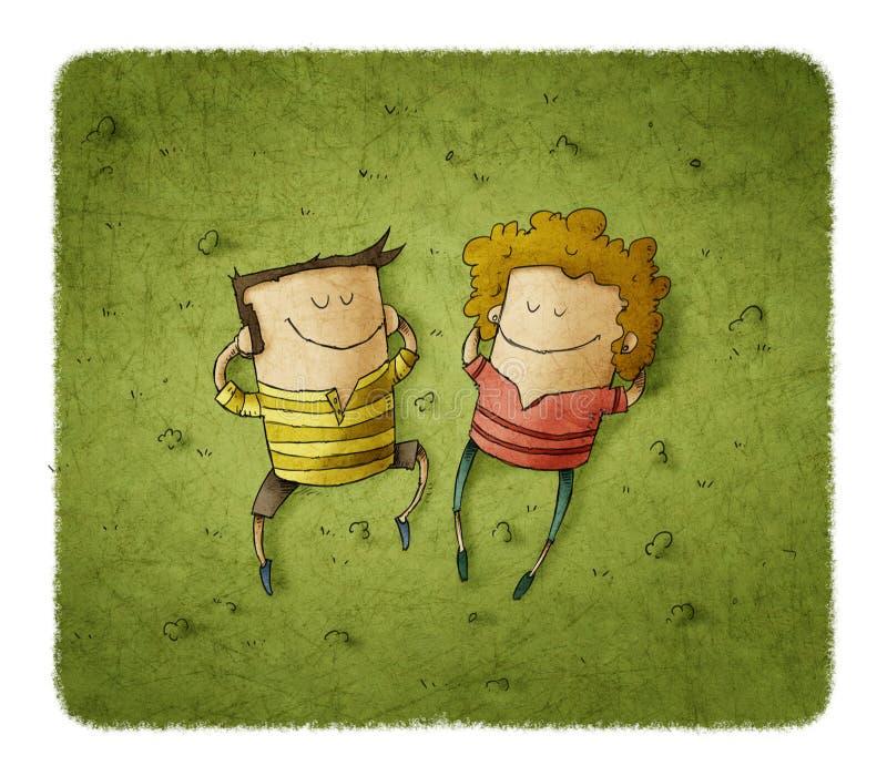 Pares felices que mienten en hierba verde con sonrisas stock de ilustración