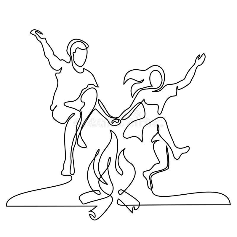 Pares felices que saltan sobre un fuego libre illustration