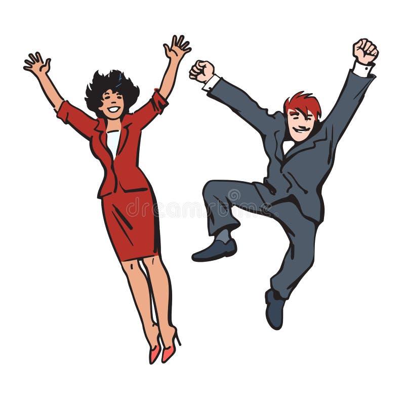 Pares felices que saltan y que se divierten La mujer y el hombre saltan, bailan y engañan alrededor Los empleados celebran su éxi ilustración del vector