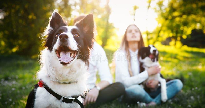 Pares felices románticos en el amor que disfruta de su tiempo con los animales domésticos en naturaleza imagen de archivo