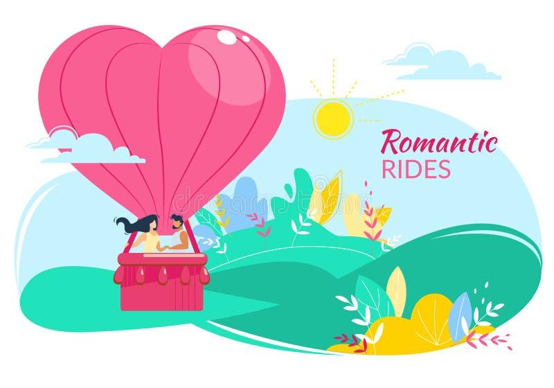 Pares felizes de amor no balão de ar dado forma coração ilustração do vetor