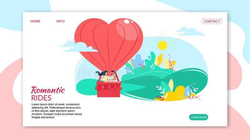 Pares felizes de amor no balão de ar dado forma coração ilustração royalty free