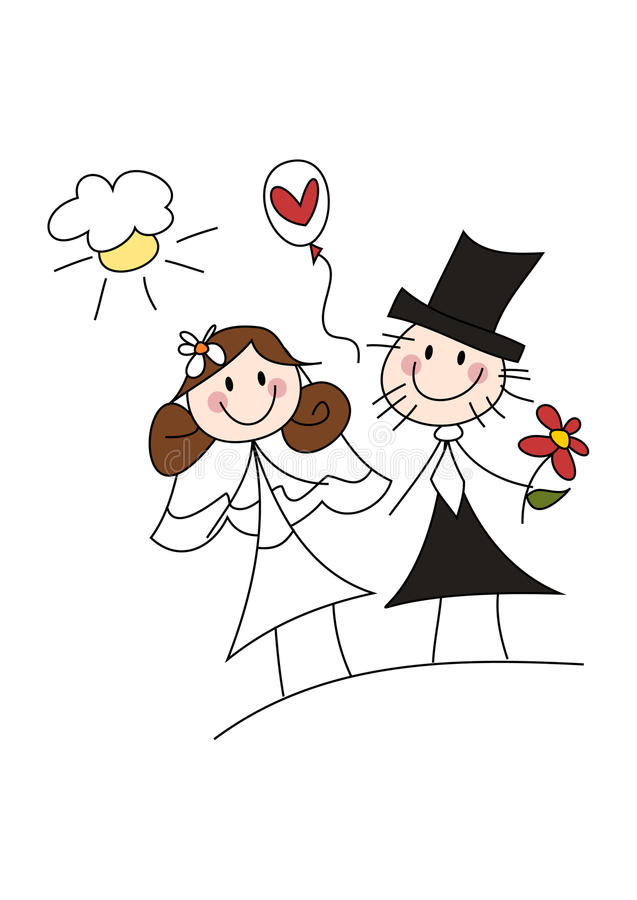 Pares felizes do casamento dos desenhos animados ilustração stock