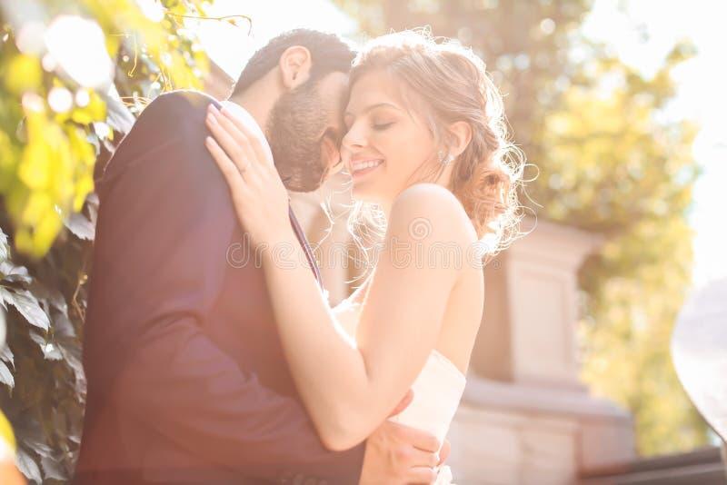 Pares felizes do casamento no dia ensolarado imagens de stock royalty free