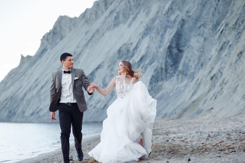Pares felizes do newlywed Noivos bonitos em um terno imagem de stock royalty free